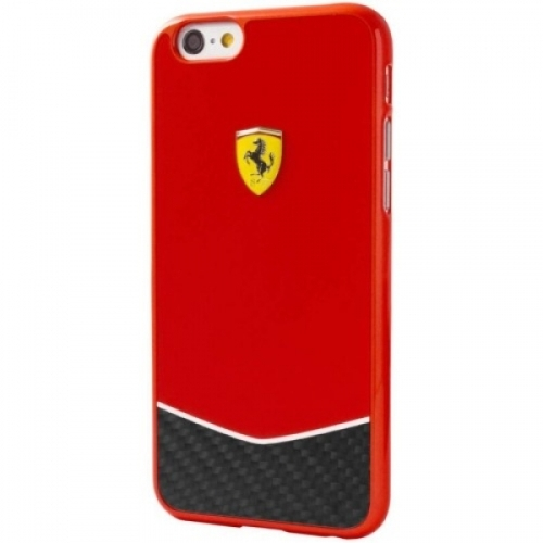 Ferrari Scuderia Hard Case Red Glossy & Real Carbon Fiber Bottom iPhone 6/6S