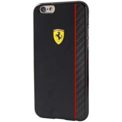 Ferrari Scuderia Hard Case Black Glossy & Real Carbon Fiber Plate iPhone 6/6S