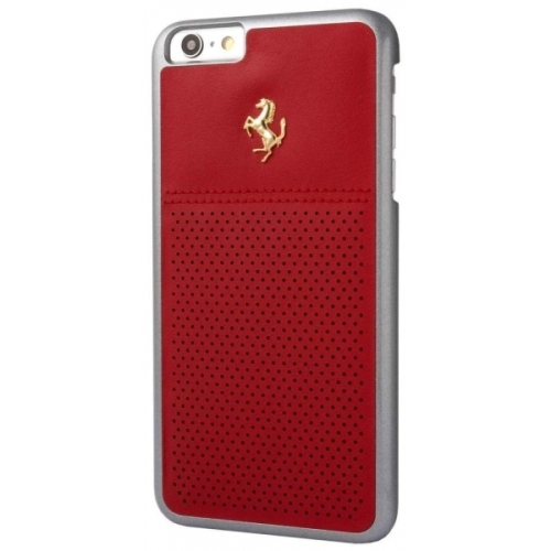 Ferrari GTB Perforated Red Leather Hard Case Gold Logo for iPhone 6/6S