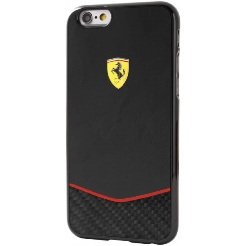Ferrari Scuderia Hard Case Black Glossy &Real Carbon Fiber Bottom iPhone 6/6S