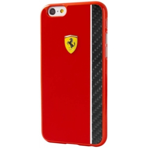 Ferrari Scuderia Hard Case Red Glossy & Real Carbon Fiber Plate iPhone 6/6S