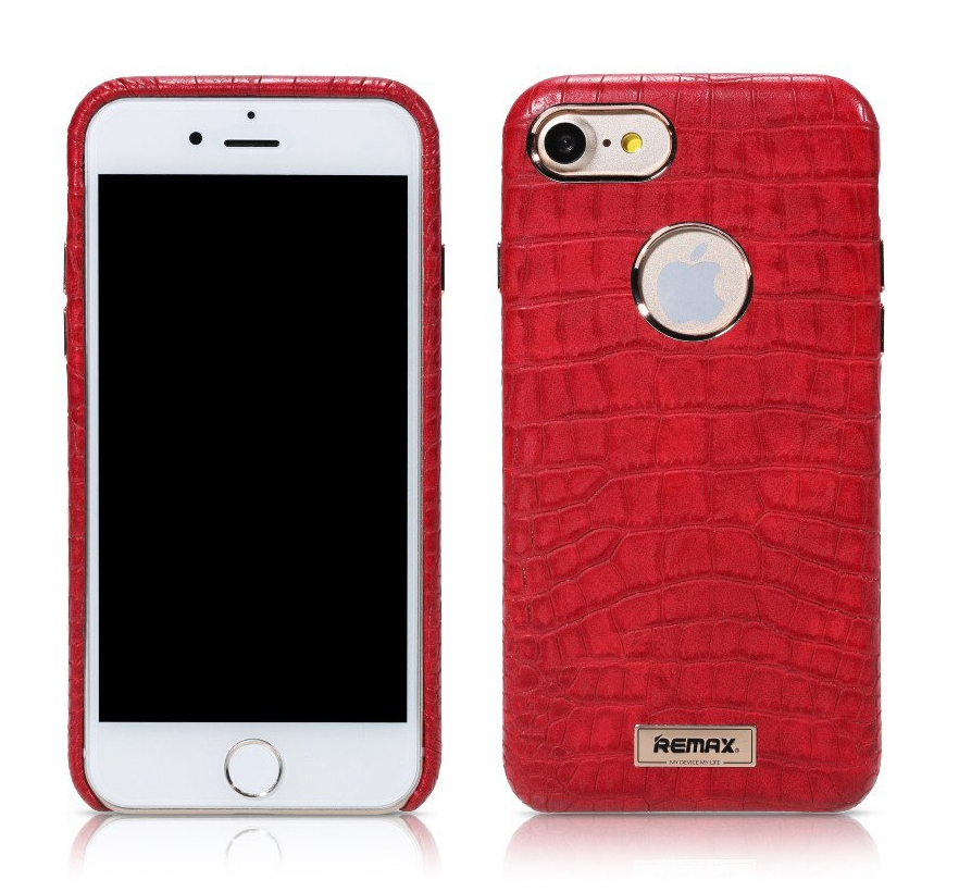 REMAX Maso Series Crocodile Leather Coated Hard Case for iPhone 7 - Red