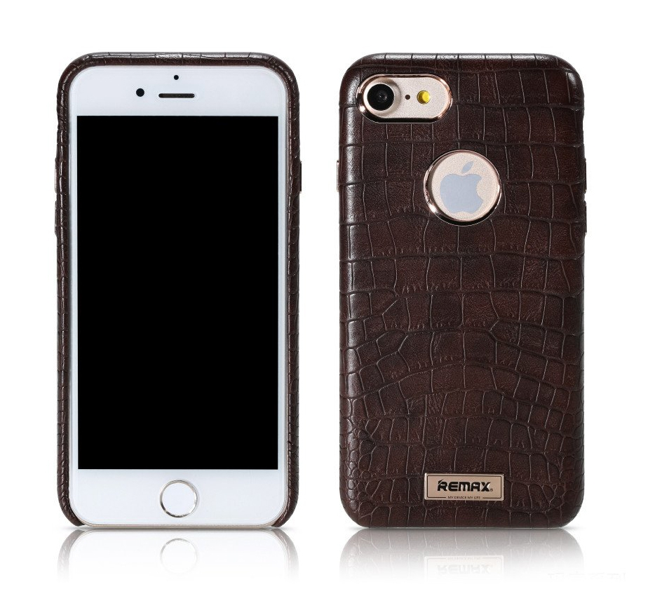 REMAX Maso Series Crocodile Leather Coated Hard Case for iPhone 7 - Brown