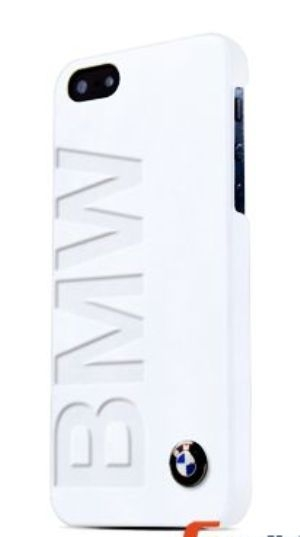 BMW Signature Collection Debossed Logo Leather - White Hard Case для iPhone 5/5S