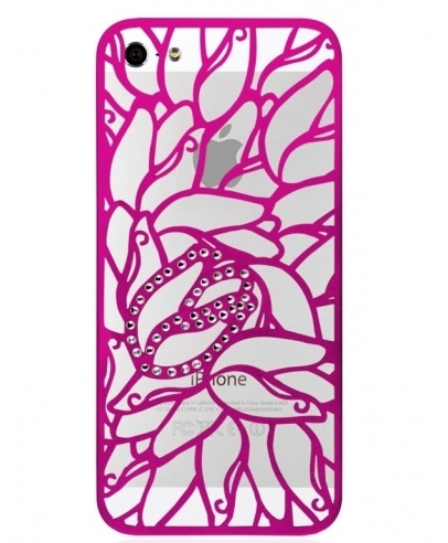 Чехол Alef Design Aluminium+SWAROVSKI® ELEMENTS Tulip for iPhone 5S/5 - Pink